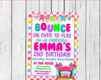 Bounce Party: Personalized birthday invitation- ***Digital File*** (BOUNCE-BNC1)
