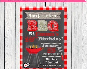 BBQ Personalized invitation any event***Digital File*** (BBQ-red)