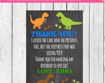 Dinosaur Party Thank You Card Personalized Chalkboard  ***Digital File*** (Dino-chlk22thx)