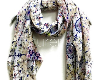 Beige / Blue Flower Power Scarf / Spring Summer Scarf / Gifts For Her / Accessories / Women Scarves
