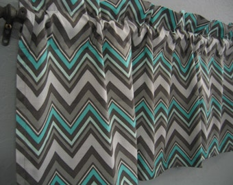 Teal Chevron Curtain Etsy