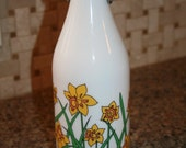 Vintage Cerve Daffodil Milk Glass Water Bottle or Vase - Italy