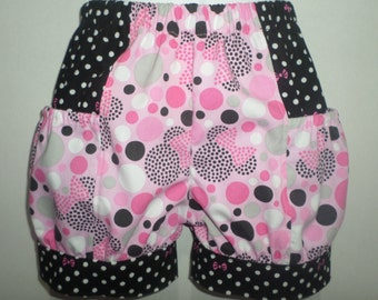 Minnie Mouse Bowtique Pink Polka Dot Girl Girls Baby Toddler Boutique Bubble Shorts with Side Pocket! Birthday Party Park Everyday Mickey
