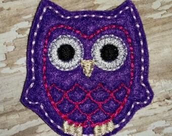 Set of 4 Owl Bird Purple and Hot Pink Felties Feltie Felt Embellishment Bow! Baby Shower Birthday Party