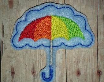 Set of 4 Umbrellas Felties Rainbow Rain Umbrella Showers Glitter Feltie Felt Embellishment Bow! Birthday Party Baby Shower Decoration