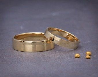 14K Gold Wedding Bands Set | Handmade polished/matte wedding Rings | His and Hers Wedding Bands Set 3mm, 4mm, 5mm, 6mm