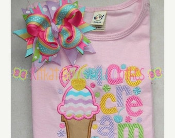 O SALE Ice Cream Applique Shirt and Matching Hairbow - Sweet Treat