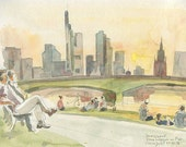 Frankfurt city skyline at sunset - PRINT of watercolor drawing plein-air of Frankfurt am Main, Urban scape drawing by Catalina