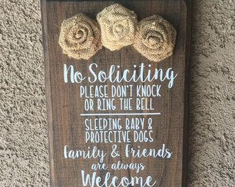 No Soliciting Sign with Burlap Flowers