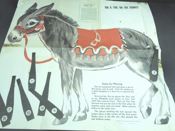 Pin The Tail On The Donkey Vintage 1958 Paper By GUTTERSNIPES