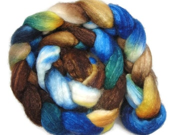 BFL wool with silk roving, top 4 oz hand painted fiber for spinning or felting
