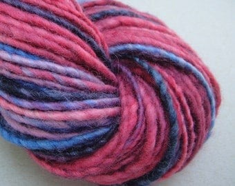 Hand spun yarn, hand dyed yarn, worsted weight yarn, 126 yards, handspun yarn, handdyed yarn