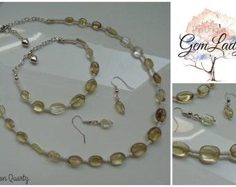 Lemon Quartz Jewellery Set ~ Necklace Earrings & Bracelet ~ Gemstone Crystal Healing ~ Perfect Gift ~ Hand Crafted Ooak