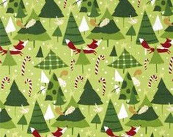 Tree Farm in Nutmeg, Winter Wonderland Collection by David Walker for Free Spirit Fabrics