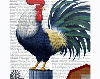 Downloadable Rooster Print, Rooster Poster, Printable Rooster Art, Dictionary Print, Dictionary Art, Dictionary Page Art, Rooster Print