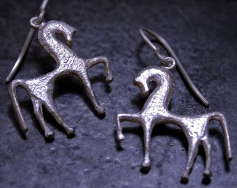 Ancient greek horse's shaped silver earrings