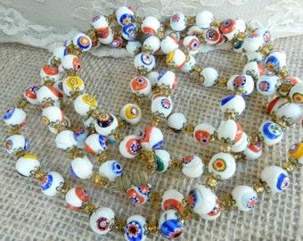 Art Deco Necklace - Downton Abbey - Boho Long Necklace - 1920s Fashion - Vintage Beaded Necklace - Millefiori Beads - Venetian Glass