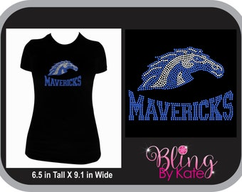 School Spirit Wear - Mavericks - Mustangs - Broncos Mascot School Spirit Wear - Rhinestone T Shirt with Team Colors