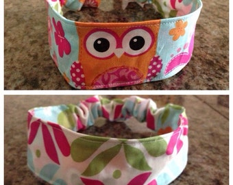 Child/toddler reversible fabric headband/hairband/owls and flowers