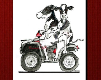 "Silly Cows!  ""Cattle Quad"" Greetings card"