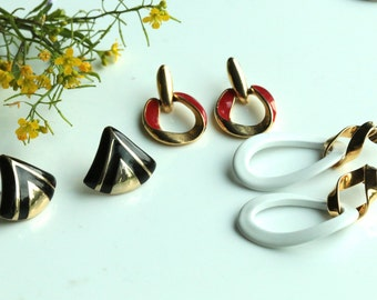 Three pairs of earrings WHITE BLACK RED