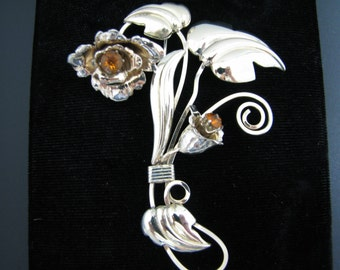Unique Swirled Tall Flower Brooch with Brown Stones