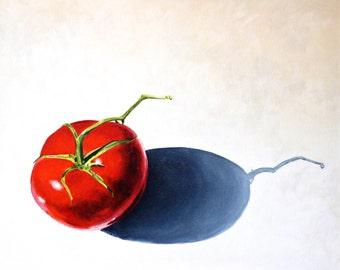 """Tomato Original Botanical Painting Acrylic on Canvas 16""""x20"""""""
