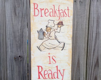 kitchen sign art deco sign breakfast is ready sign wall decor country