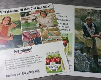 1960s Diet-Rite magazine ads, large format, set of 2 vintage ads, Diet Rite cola