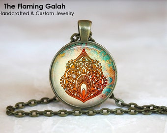 ORIENTAL FLOWER Pendant • Peace • Good Fortune • Lotus Flower • Gift for Yogi • Gift Under 20 • Made in Australia (P1295)