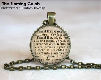 FAMILY FRENCH DEFINITION Pendant. French Vintage Dictionary Necklace. Key Ring. Silver/Bronze. Gift Under 20. Handmade in Australia  (P1062)