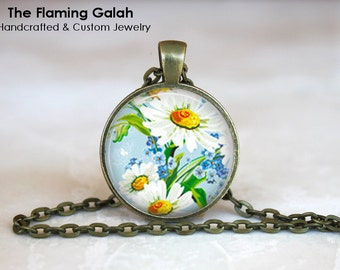 DAISY Pendant • White Flower Necklace • Wild Flower • Pretty Flower • Floral Jewelry • Gift Under 20 • Made in Australia (P0115)