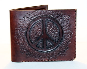 Leather wallet with peace sign, brown wallet, great leather item, brown men's wallet, credit card wallet, gift for men.