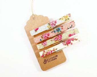 Ditsy Floral Fabric Wooden Pegs, Set Of 4