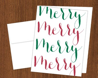 Merry Merry - Calligraphy Christmas Cards - A2