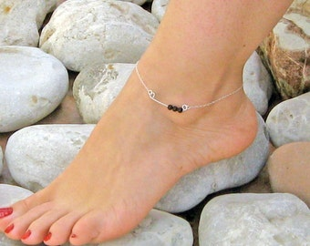 Black Onyx Anklet, Stone Bar Ankle Bracelet, 14k Gold Fill or 925 Sterling Silver, Beach Foot Jewelry, Handcrafted Bar Anklet, Gift Under 25