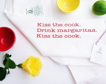 Chef Gift BBQ Dish Towel, Housewarming Gift, Kitchen Towel, Cook Gift, Hostess Gift Kiss the Cook, Drink Margaritas Tea Towel