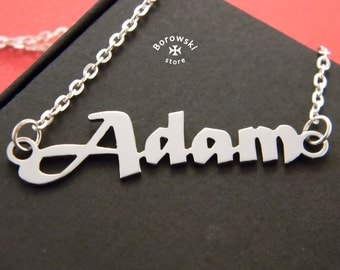 Name necklaces pendant (free shipping)- custom name pendant necklace - Adam - personalized name pendant-stainless steel