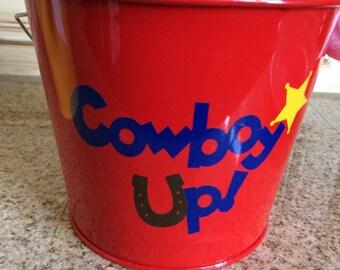 Kids Cowboy Up gift pail kids storage cowboy