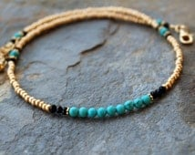Gold and turquoise beaded choker, gold and turquoise short necklace, beaded gemstone necklace, beaded choker, gold beaded choker,