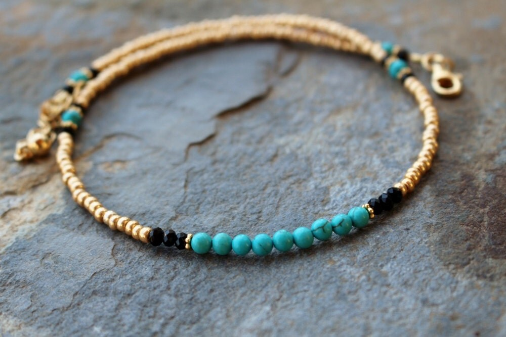 gold and turquoise beaded choker gold and turquoise