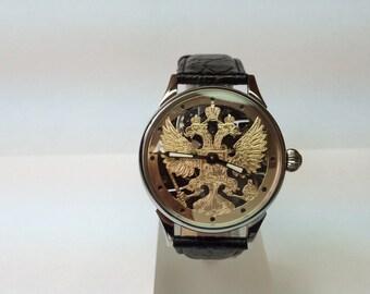 Hand engraved watch skeleton.Eagle. Mechanikal. Movevent USSR.