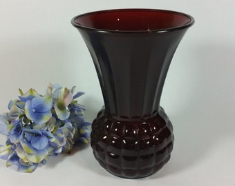 9 Inch 1950's Vintage Ruby Red Trumpet Vase