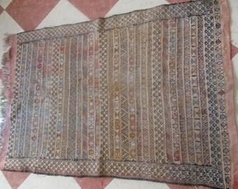 "48.5"" x 34"" (124cm x 87cm ) Vintage Moroccan rug Handwoven rug - Wool Carpet"