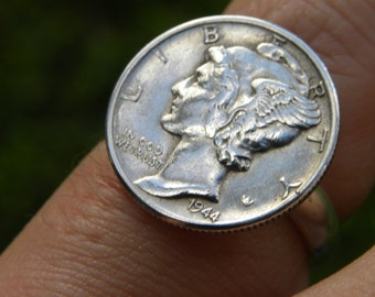 Vintage ring authentic Mercury dime coin nice coins sterling silver plated band 8 to 14 size handcrafted