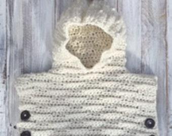 Crochet pattern, poncho pattern, crochet hooded poncho pattern, crochet poncho pattern, crochet pullover pattern, crochet hooded pullover