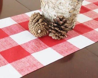 Red and White Check Table Runner