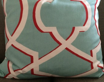 Red and Teal Down Feather Pillow
