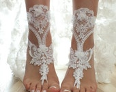 FREE SHIP 3D flowers white beach wedding barefoot sandals  lace sandals, , bridal barefoot, flexible wrist lace sandals