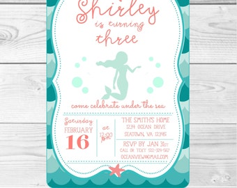 Under the Sea Mermaid Invitation-Customizable-ocean, under the sea, birthday, party